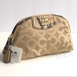 NWT Coach Madison Op Art Cosmetic Case in Khaki & Natural Python Print Details